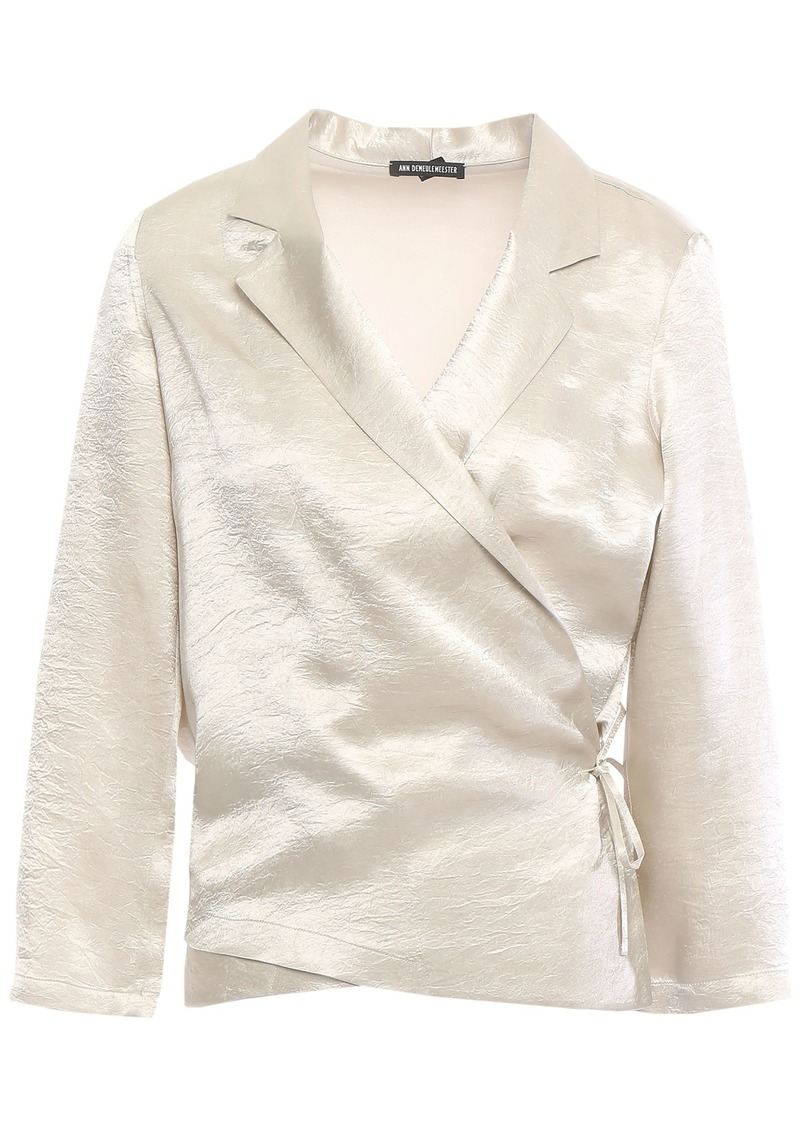Ann Demeulemeester Woman Crinkled-satin Wrap Top Platinum