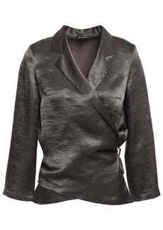 Ann Demeulemeester Woman Crinkled-satin Wrap Top Leaf Green