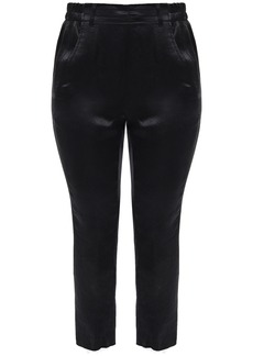 Ann Demeulemeester Woman Cropped Crinkled-satin Slim-leg Pants Black