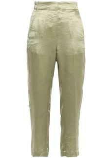 Ann Demeulemeester Woman Cropped Crinkled-satin Tapered Pants Sage Green