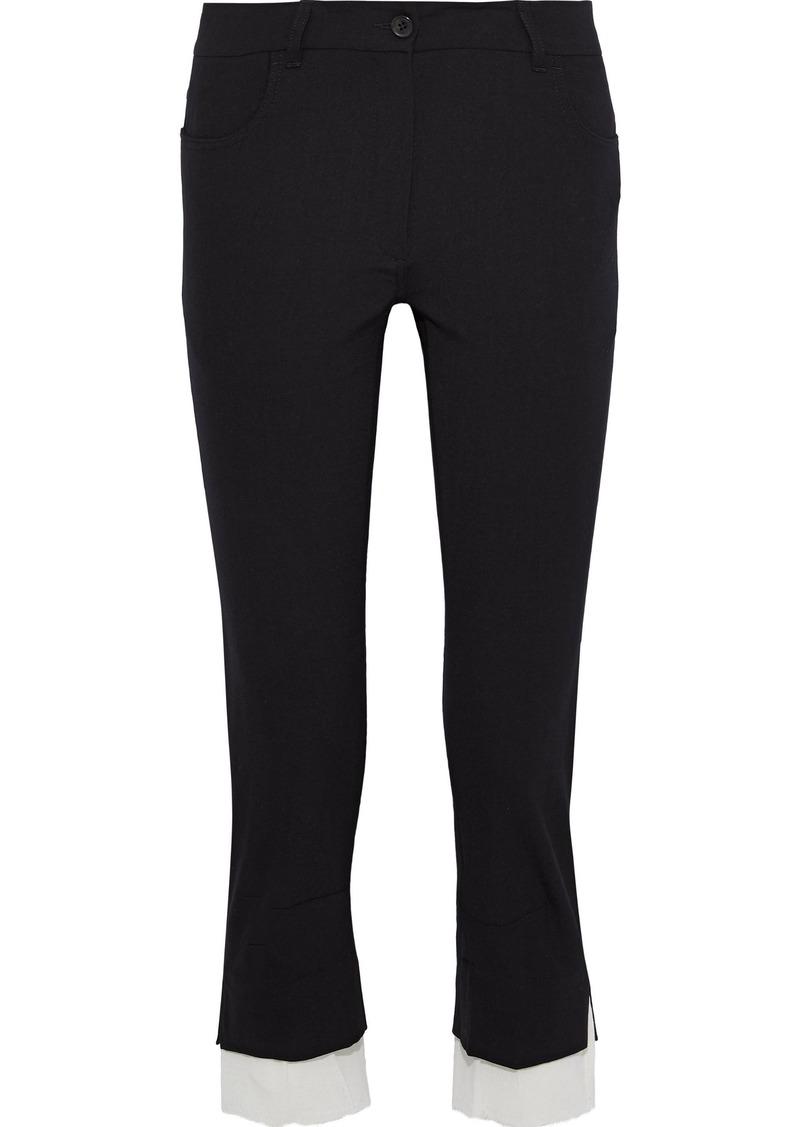 Ann Demeulemeester Woman Cropped Gauze-trimmed Wool-blend Twill Slim-leg Pants Black