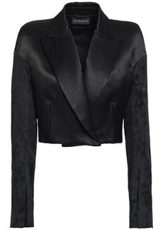 Ann Demeulemeester Woman Cropped Jacquard-paneled Cotton-blend Satin-twill Blazer Black