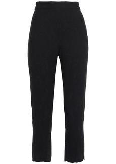 Ann Demeulemeester Woman Cropped Jacquard Slim-leg Pants Black