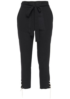 Ann Demeulemeester Woman Cropped Lace-up Wool Tapered Pants Black