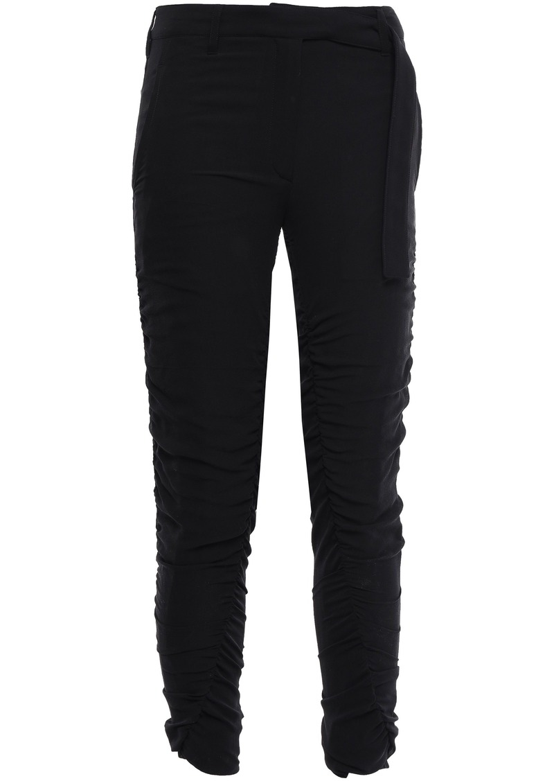 Ann Demeulemeester Woman Cropped Ruched Silk-crepe Skinny Pants Black