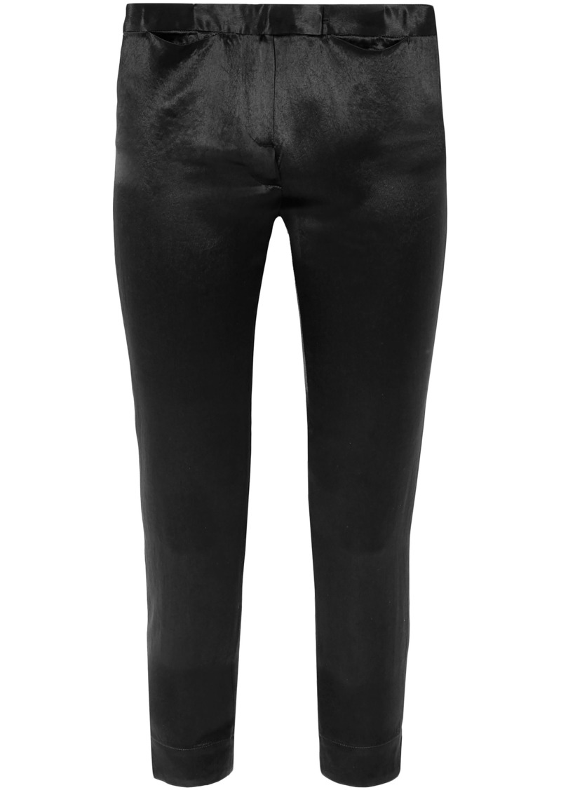 Ann Demeulemeester Woman Cropped Satin Slim-leg Pants Black