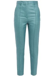 Ann Demeulemeester Woman Silk And Wool-blend Slim-leg Pants Turquoise