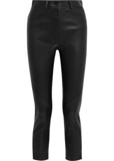 Ann Demeulemeester Woman Cropped Leather Slim-leg Pants Black