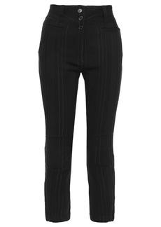Ann Demeulemeester Woman Cropped Striped Jacquard Slim-leg Pants Black