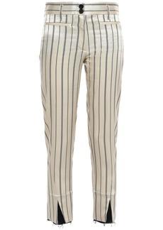 Ann Demeulemeester Woman Cropped Striped Satin-twill Slim-leg Pants Beige