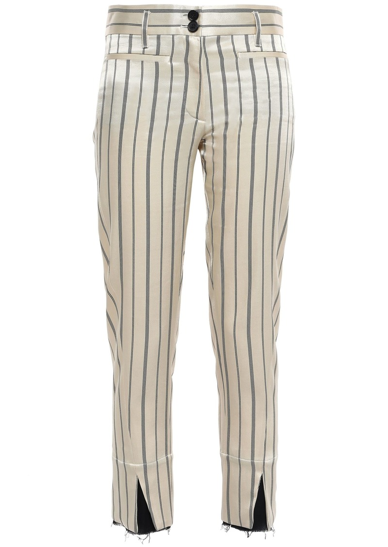 Ann Demeulemeester Woman Cropped Striped Satin-twill Slim-leg Pants Beige