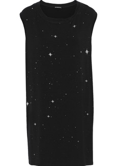 Ann Demeulemeester Woman Crystal-embellished Printed Stretch-jersey Mini Dress Black