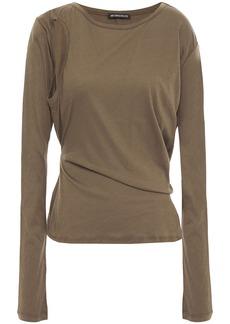 Ann Demeulemeester Woman Cutout Cotton-jersey Top Army Green