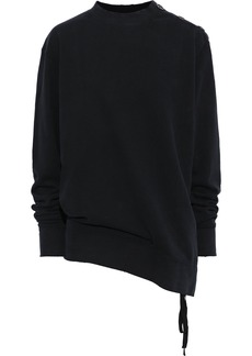 Ann Demeulemeester Woman Distressed French Cotton-terry Sweatshirt Black