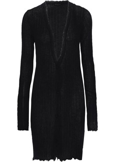 Ann Demeulemeester Woman Distressed Ribbed Mohair Alpaca And Silk-blend Cardigan Charcoal