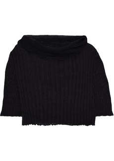 Ann Demeulemeester Woman Distressed Ribbed Mohair Alpaca And Silk-blend Sweater Charcoal