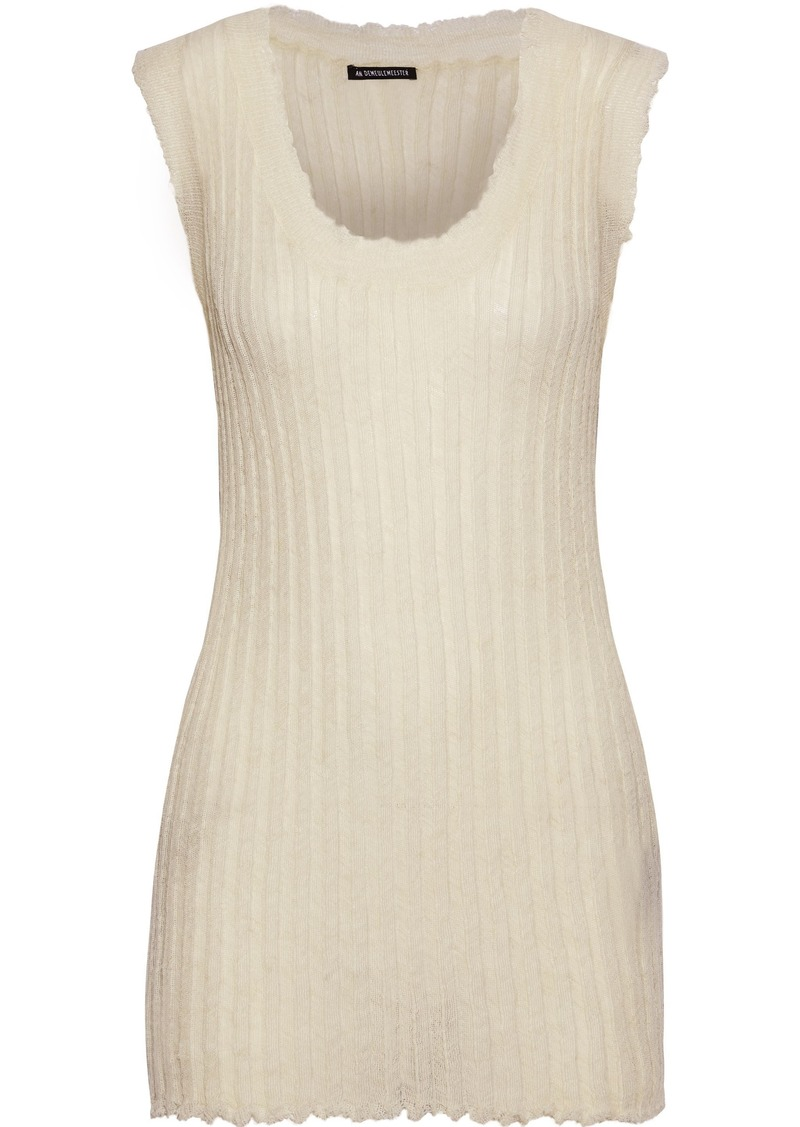 Ann Demeulemeester Woman Distressed Ribbed Mohair Alpaca And Silk-blend Tank Ivory