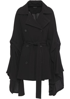 Ann Demeulemeester Woman Double-breasted Belted Draped Crepe Cape Black