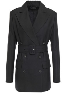 Ann Demeulemeester Woman Double-breasted Belted Woven Blazer Black