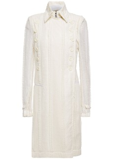 Ann Demeulemeester Woman Double-breasted Lace Coat Ecru