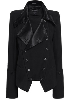 Ann Demeulemeester Woman Double-breasted Satin-trimmed Wool And Cotton-blend Twill Jacket Black