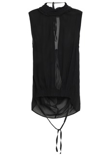 Ann Demeulemeester Woman Draped Gathered Ruffle-trimmed Georgette Top Black