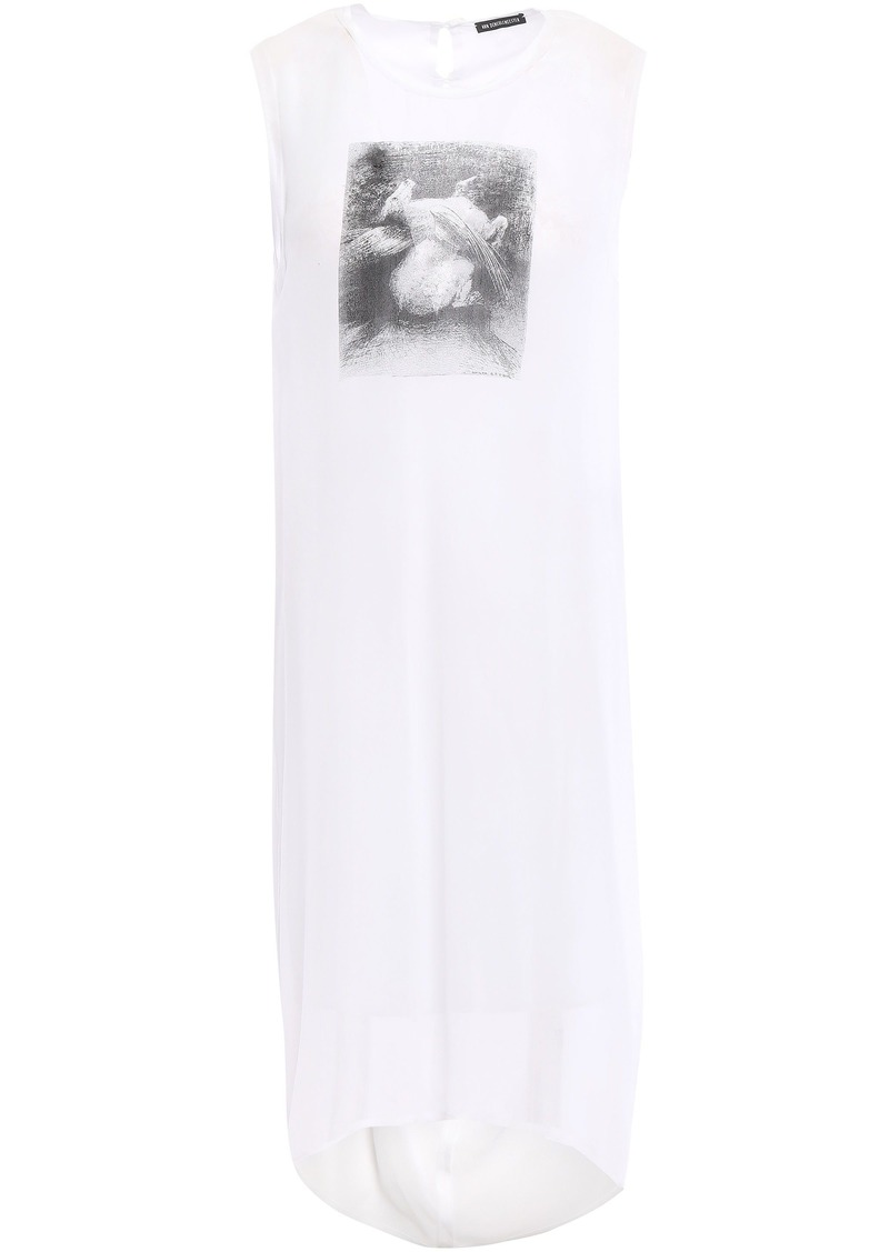 Ann Demeulemeester Woman Draped Printed Silk-georgette Mini Dress White