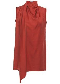 Ann Demeulemeester Woman Draped Wool And Silk-blend Twill Top Brick