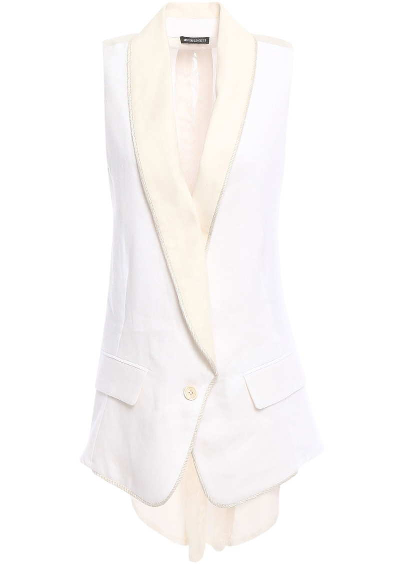 Ann Demeulemeester Woman Embroidered Gauze-paneled Hemp-twill Vest Off-white