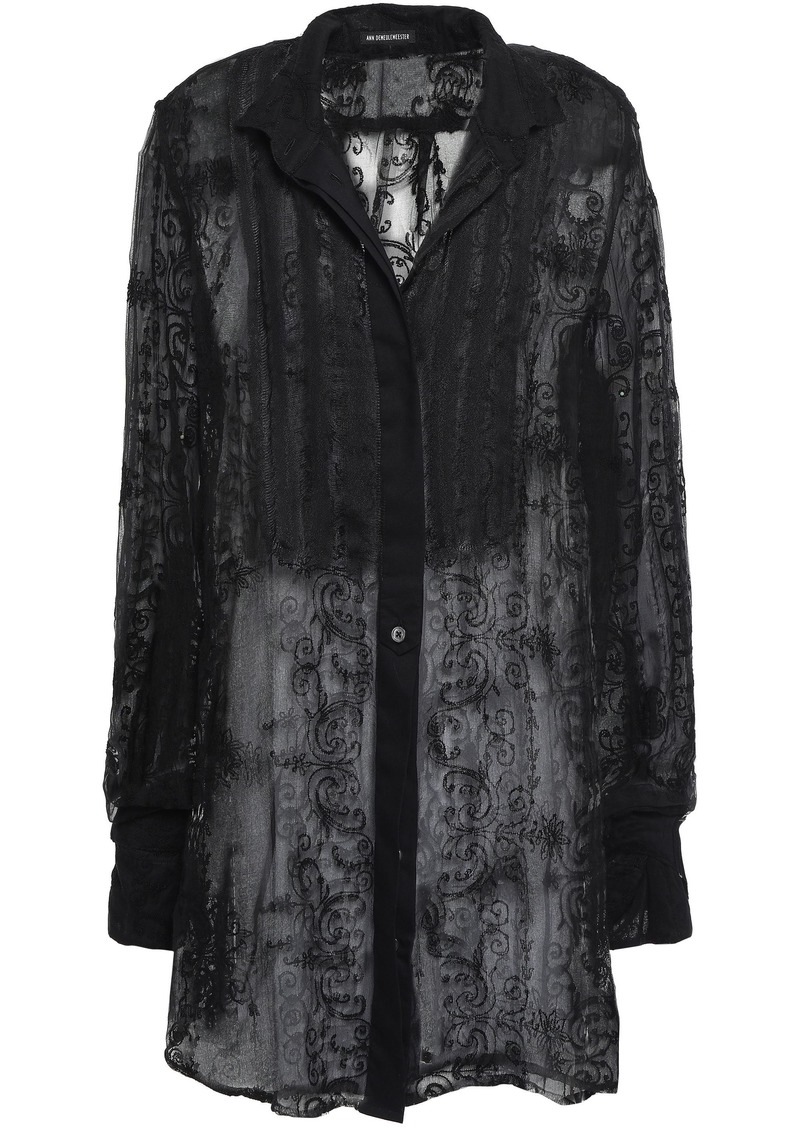 Ann Demeulemeester Woman Embroidered Silk-blend Gauze Shirt Black