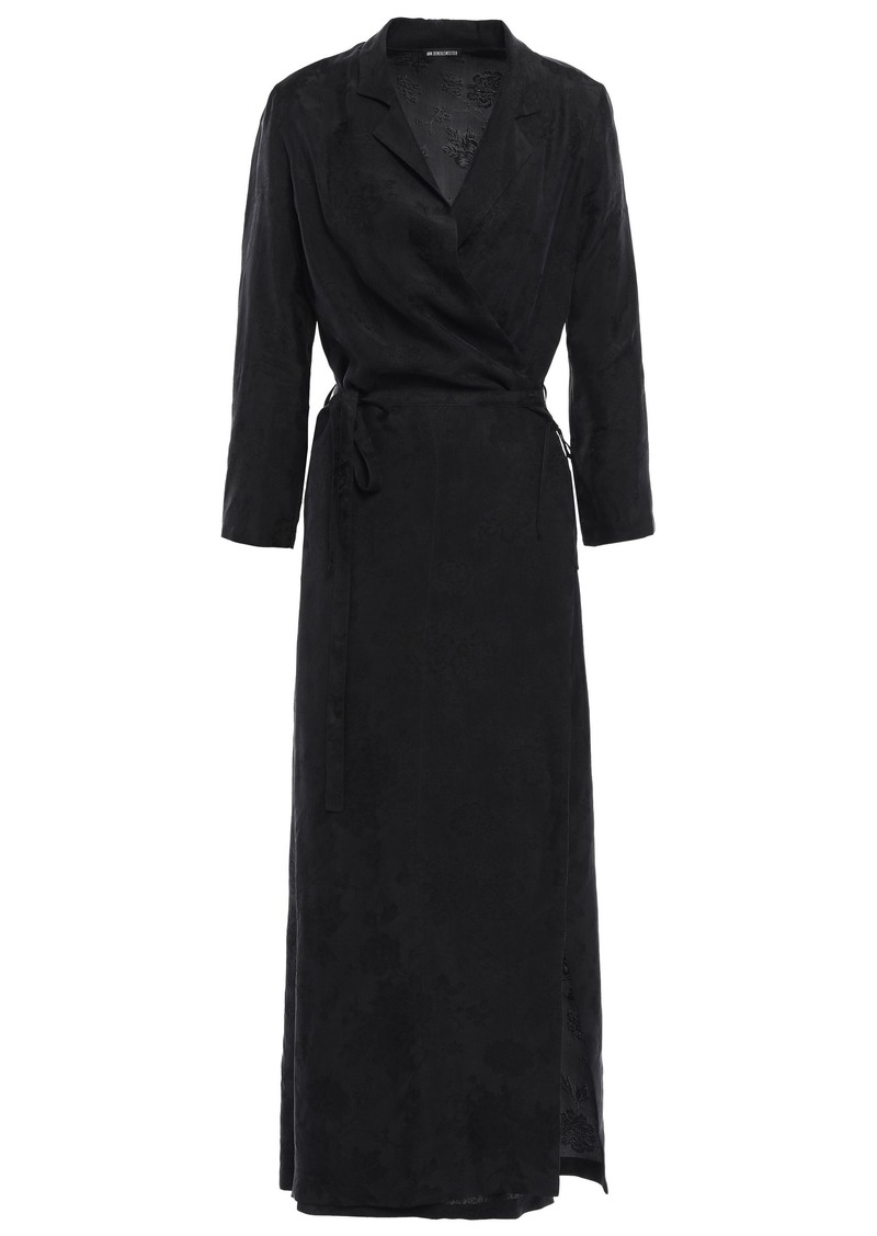 Ann Demeulemeester Woman Floral-jacquard Midi Wrap Dress Black