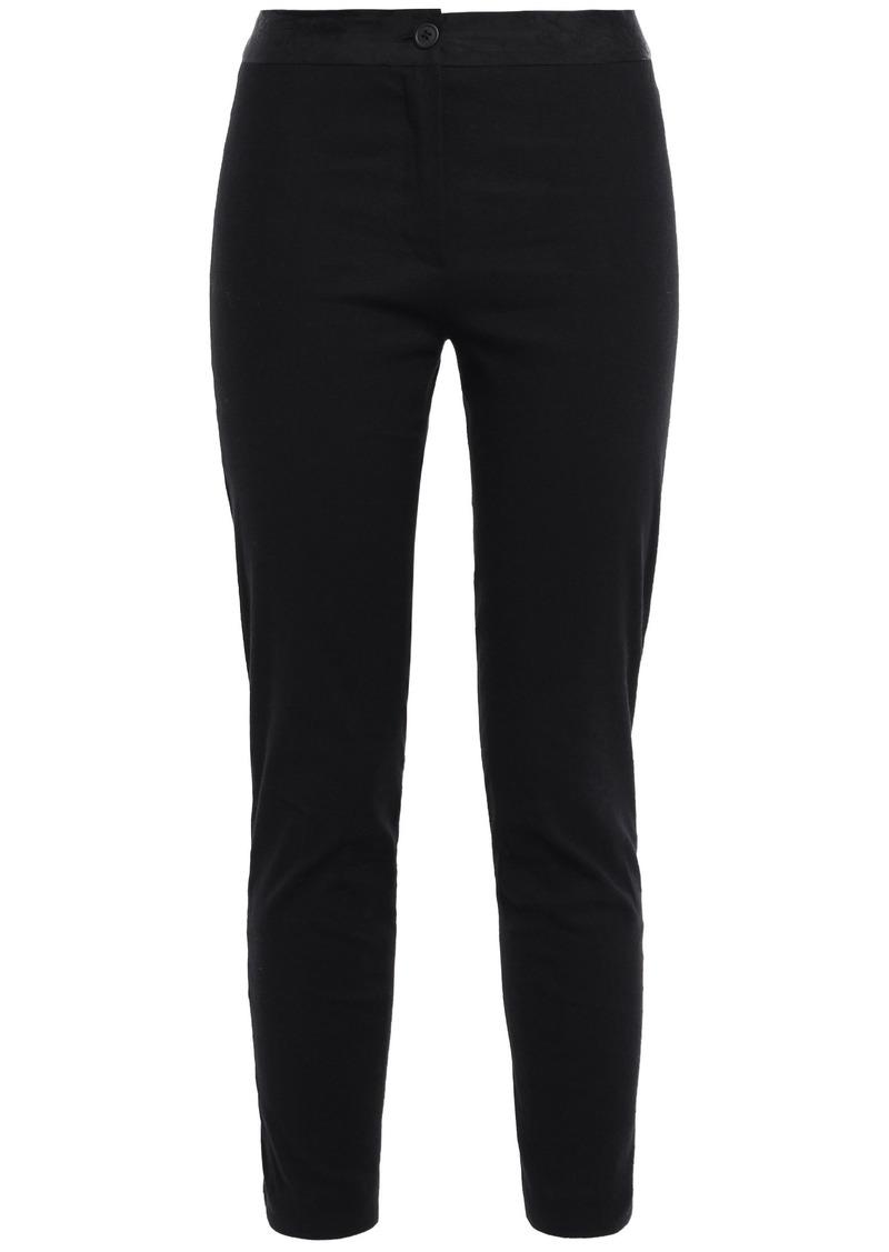 Ann Demeulemeester Woman Floral Jacquard-trimmed Linen-blend Slim-leg Pants Black