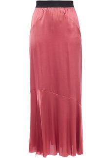 Ann Demeulemeester Woman Fluted Stretch-silk Satin Maxi Skirt Antique Rose