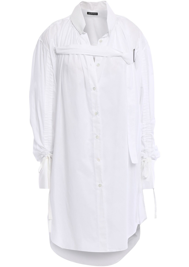 Ann Demeulemeester Woman Gathered Cotton-gauze Shirt White