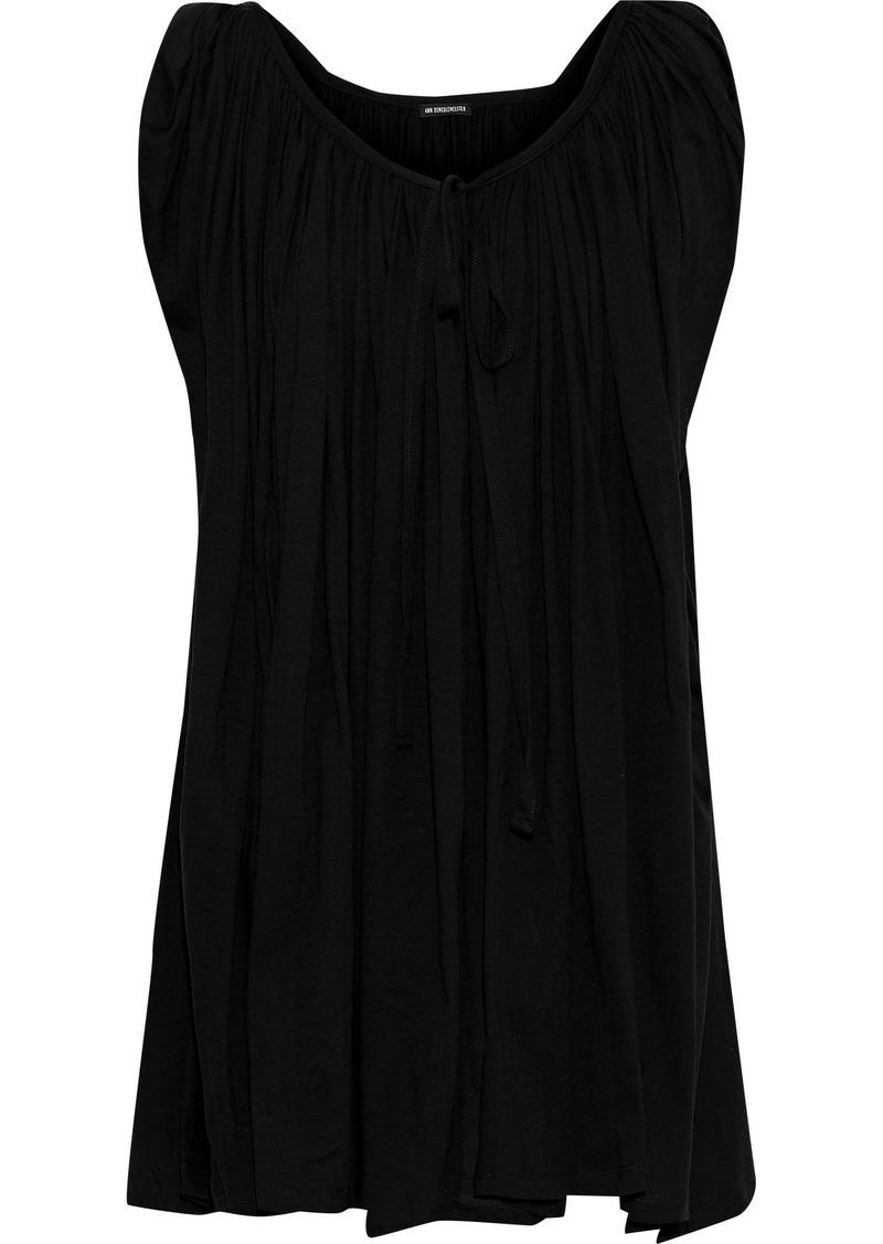 Ann Demeulemeester Woman Gathered Cotton-jersey Top Black