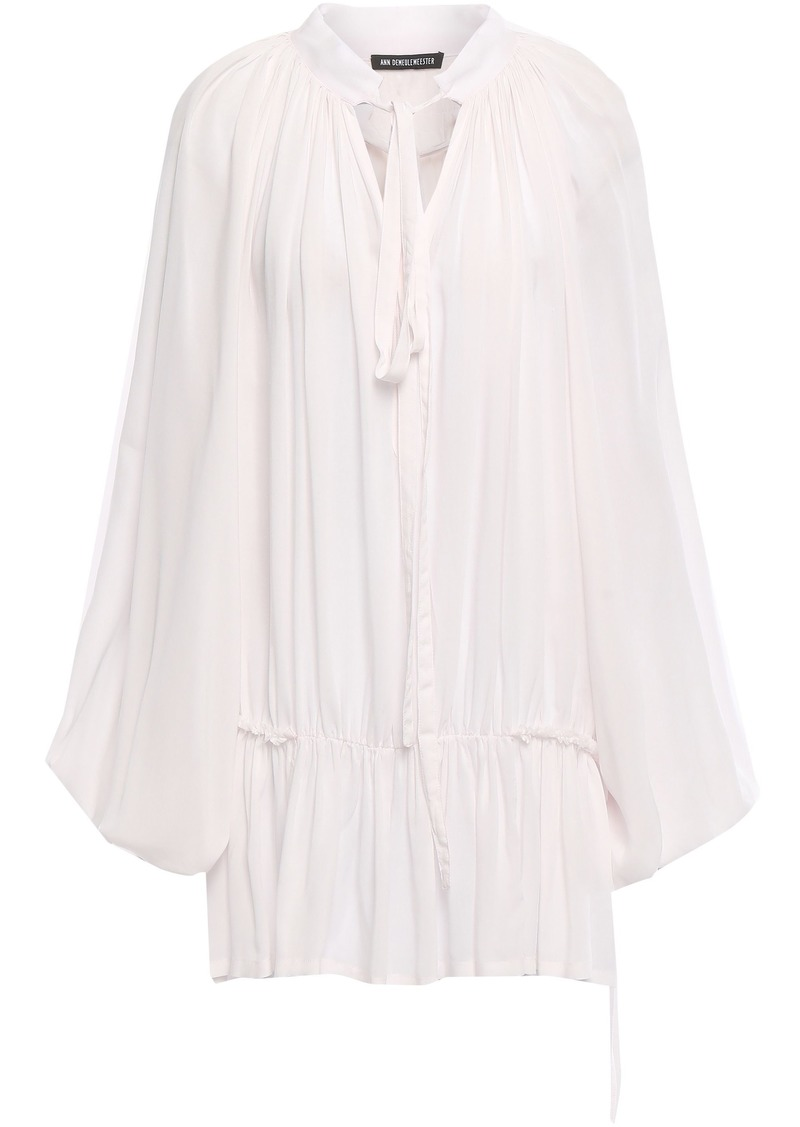Ann Demeulemeester Woman Gathered Mousseline Blouse Pastel Pink