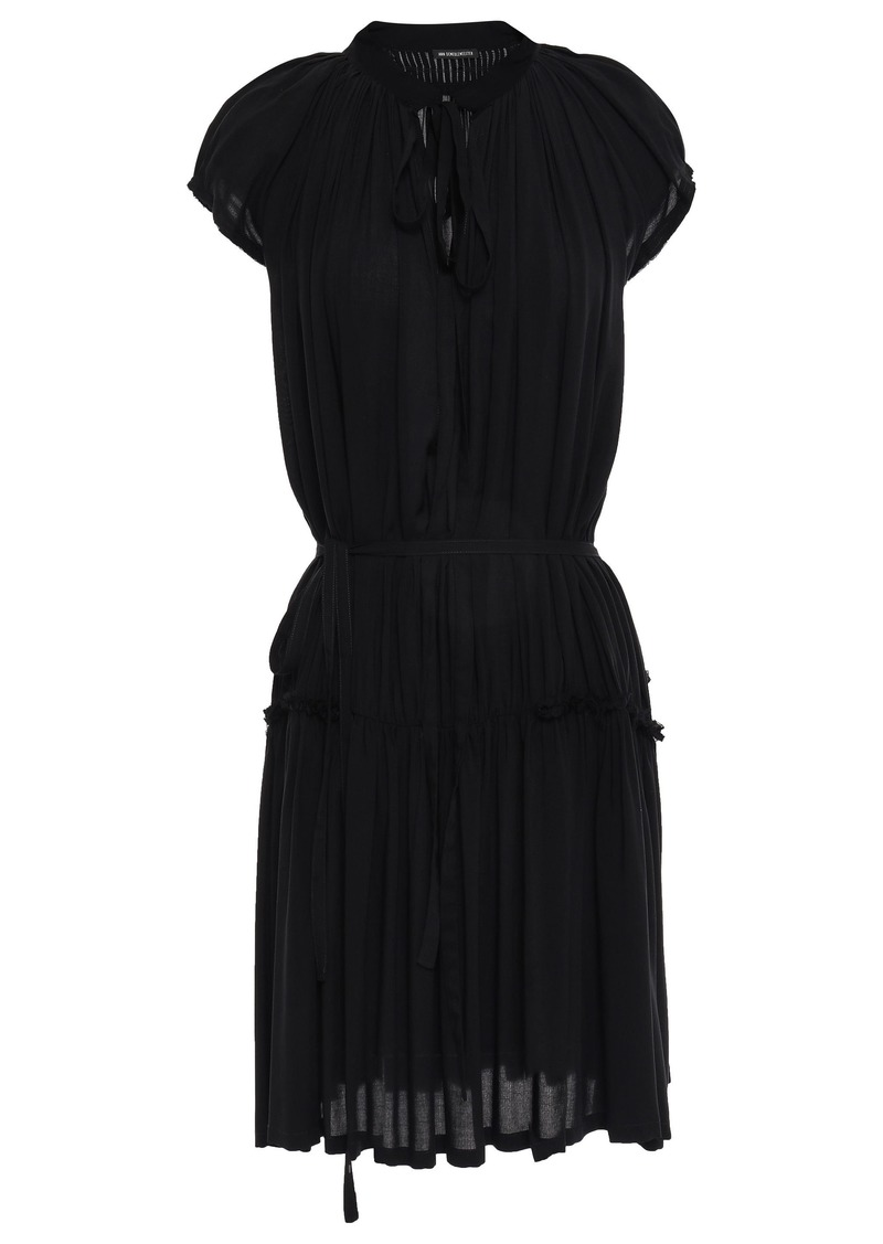 Ann Demeulemeester Woman Gathered Mousseline Mini Dress Black
