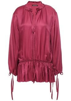 Ann Demeulemeester Woman Gathered Satin Blouse Magenta