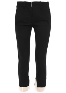 Ann Demeulemeester Woman Gauze-trimmed Wool-and Cotton Blend Twill Slim-leg Pants Black