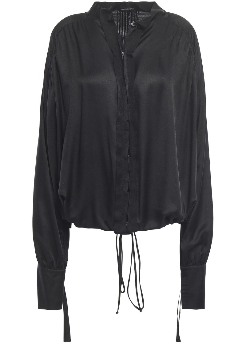 Ann Demeulemeester Woman Grosgrain-trimmed Gathered Mousseline Shirt Black