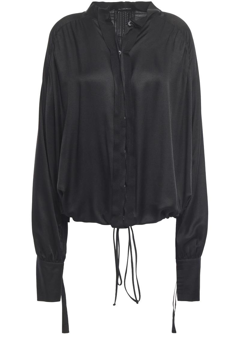 Ann Demeulemeester Woman Grosgrain-trimmed Gathered Mousseline Shirt Black