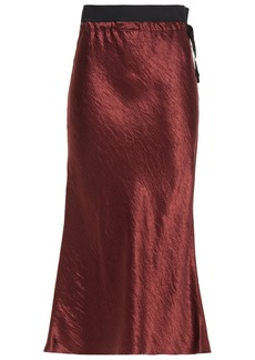 Ann Demeulemeester Woman Crinkled-satin Midi Skirt Burgundy