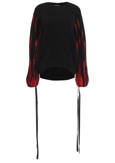 Ann Demeulemeester Woman Intarsia Alpaca Silk And Mohair-blend Sweater Black