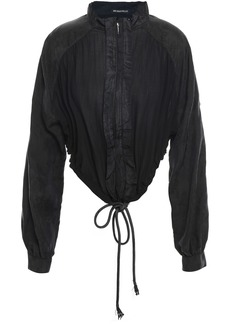 Ann Demeulemeester Woman Jacquard-paneled Gathered Cotton Bomber Jacket Black