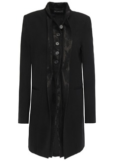 Ann Demeulemeester Woman Jacquard-trimmed Wool-blend Twill Coat Black