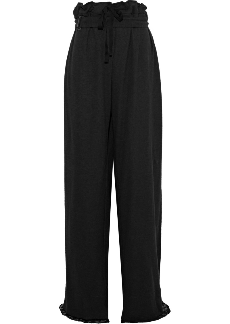 Ann Demeulemeester Woman Lace-trimmed Ribbed Cotton Wide-leg Pants Forest Green