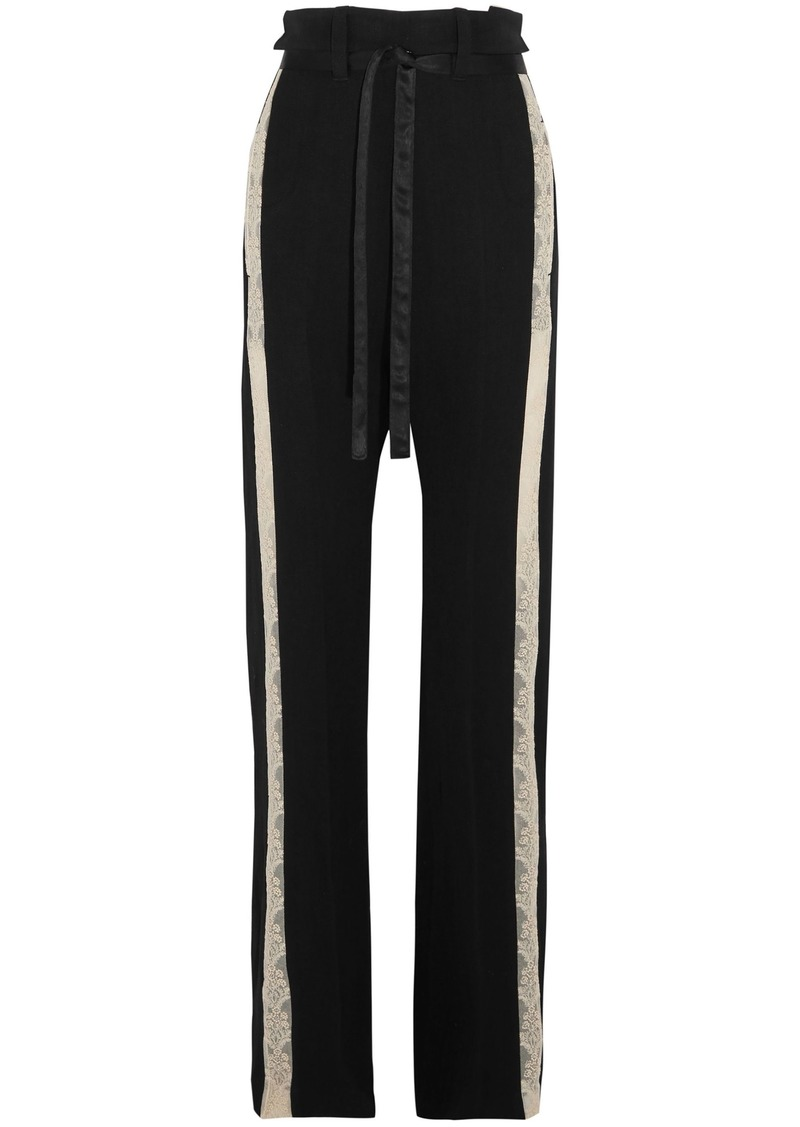 Ann Demeulemeester Woman Lace-trimmed Wool-blend Wide-leg Pants Black