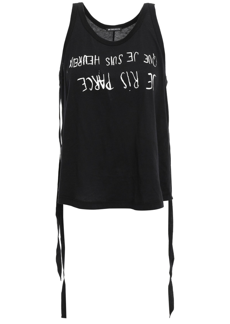 Ann Demeulemeester Woman Lace-up Printed Cotton-jersey Tank Black