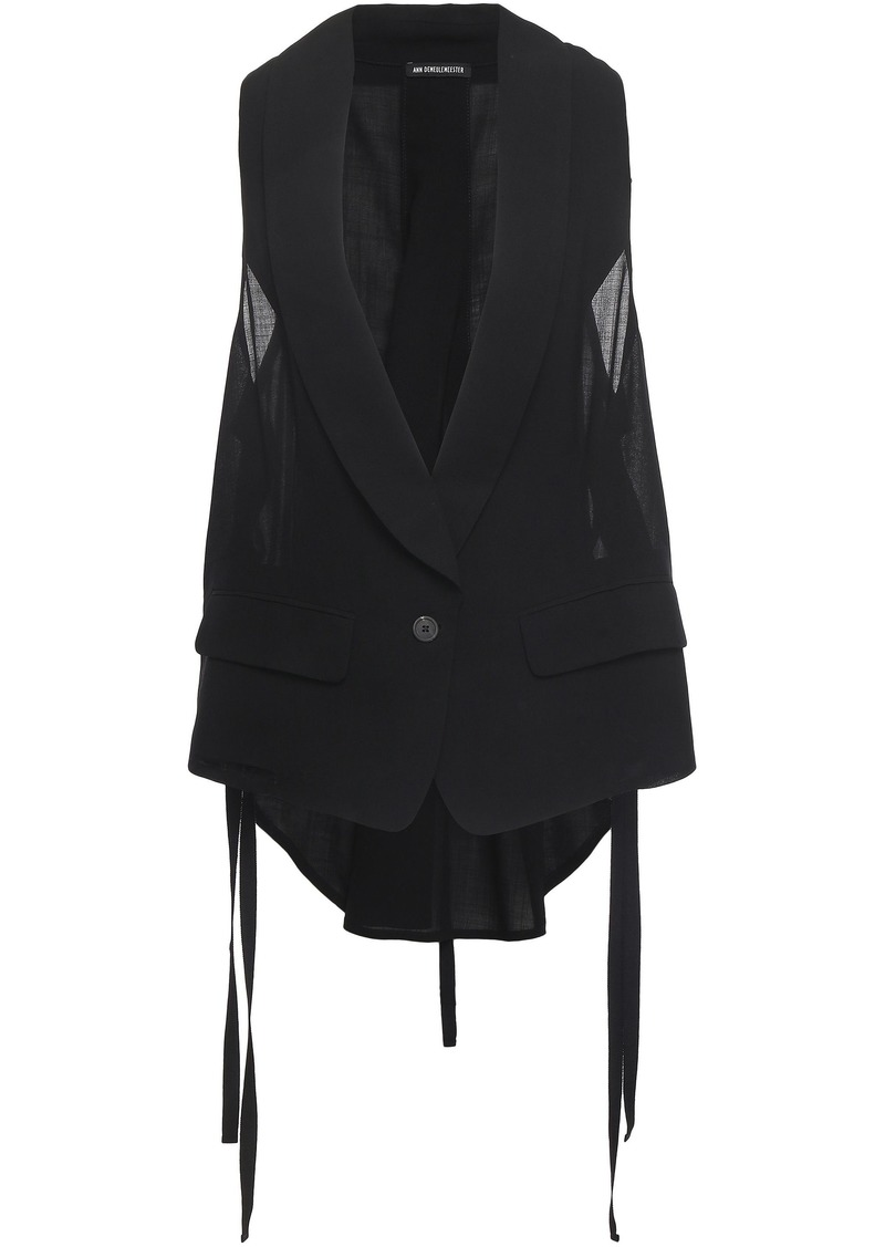 Ann Demeulemeester Woman Lace-up Wool-blend Gauze Vest Black