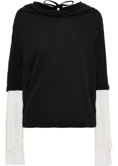 Ann Demeulemeester Woman Layered Cotton-jersey And Gauze Top Black